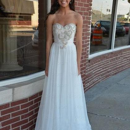Amazing Sweetheart White Long Prom Dresses, Evening Dresses, Formal Dress