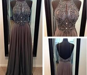 Halter backless long chiffon prom dress women beading party dresses