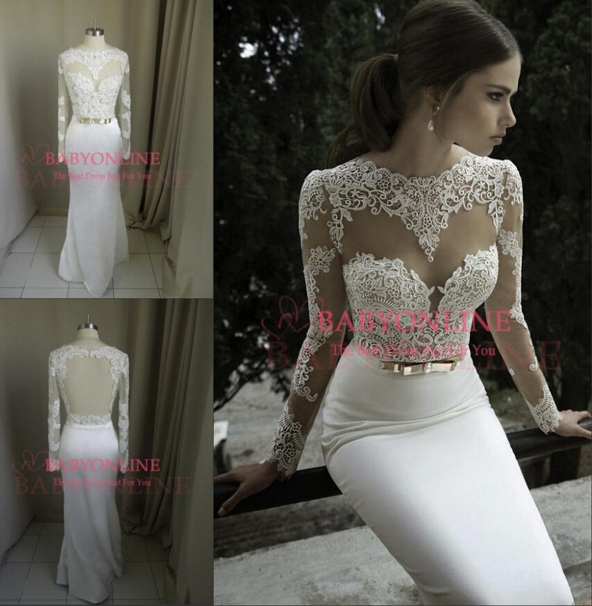 Gorgeous Sheath Column V Neck Long Sleeve Wedding Dresses : Neckline long sleeves column wedding dress fashion gorgeous