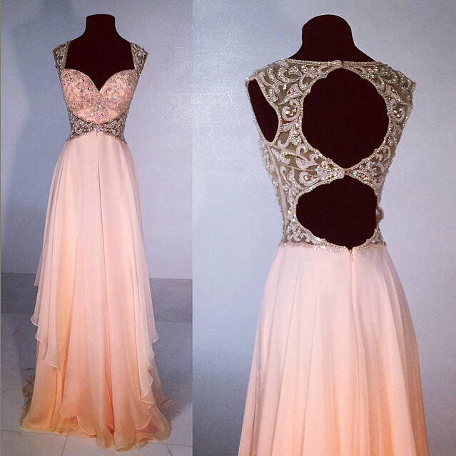 Sweetheart Beading Long Chiffon Prom Dress Special Evening Dresses