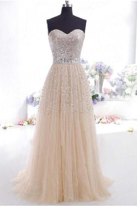 Champagne Sequin Sweetheart Long Prom Gowns For Women