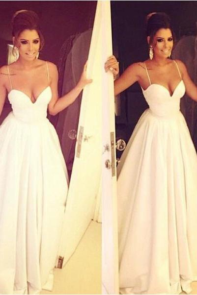 White Spaghetti Strap Long Prom Dress Sexy Sweetheart Party Dresses For Formal