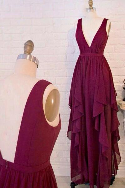 V neck Deep Red Formal Dress Special Style Chiffon Evening Party Dress For Prom