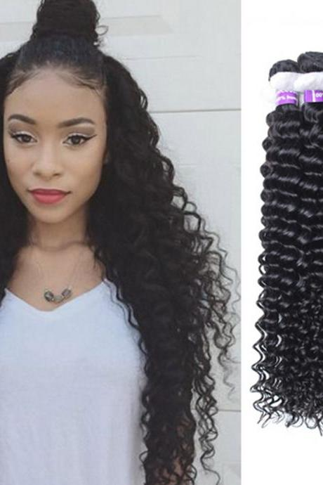 Curly Weave Human Hair 2 bundles 7A 100% Unprocessed Deep Curly Brazilian Hair,18 inch,100g/pcs