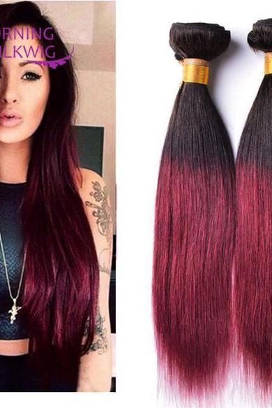 Straight double color 3 Pcs 7A Unprocessed Virgin Peruvian Straight Hair Human Hair Extension,14 inch,100g/pcs