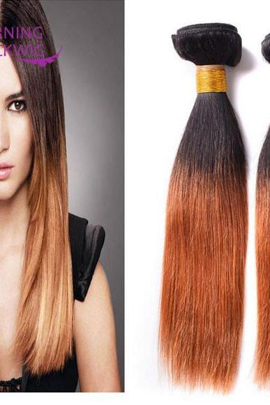 Straight double color 3 Pcs 7A Unprocessed Virgin Peruvian Straight Hair Human Hair Extension,8 inch,100g/pcs
