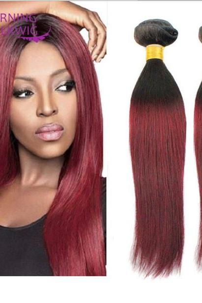 7A Straight Human Hair Weave 2 Bundles double color Straight Hair Extension,18 inch,100g/pcs