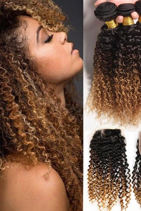 Top Selling 7A Unprocessed Curly 3 Bundles Human Hair Weave Virgin double Colour,10 inch