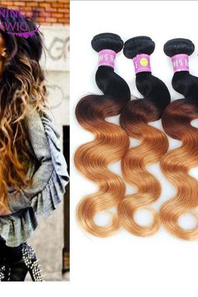 Top selling Blonde Weave Bundles Brazilian human Hair Body Wave three color , 18 inch,3 bundles