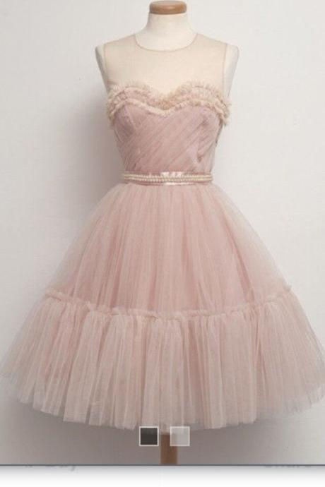 Light pink yarn pearl dress formal dress bridesmaid dress home dress short dress