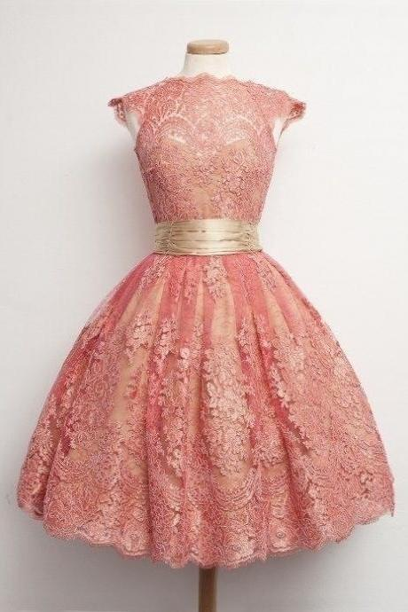 Pink Sweet Lace Dress Bridesmaid Dresses Home Formal Dresses Short Dress