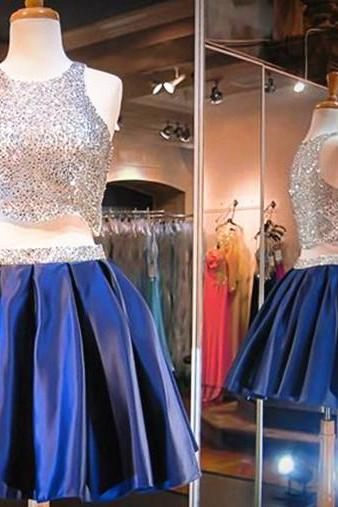 Blue sequined two-piece dress formal dress bridesmaid dress homecoming dress