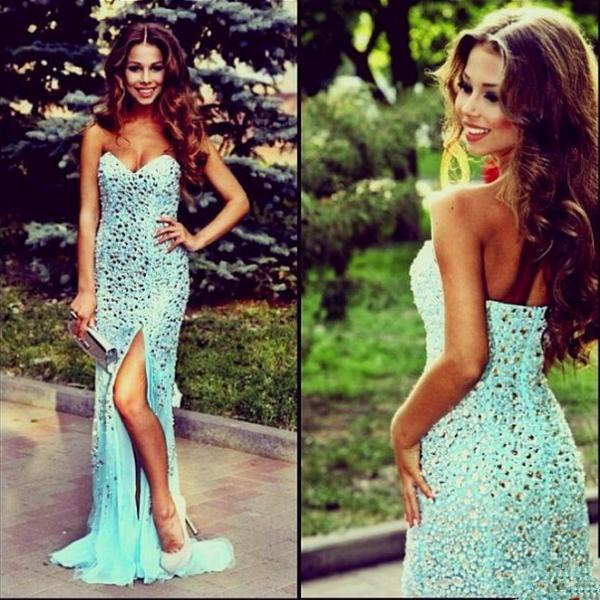 Sweetheart Long Mermaid Prom Dress Beading Party Dress Sexy Prom Gowns