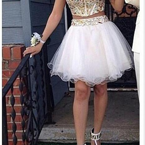 Two Piece Beading Party Dress Homecoming Dresses Graduation Dress